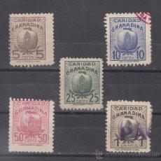Sellos: ,,LOCAL NACIONALISTA GRANADA 5 CTS., 10 CTS., 25CTS., 50 CTS., 1PTA. USADA, CARIDAD GRANADINA, . Lote 29001649