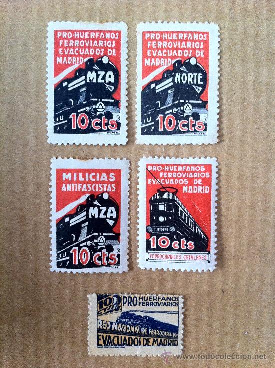 ESPECTACULAR SERIE DE 5 SELLOS DE TRENES Y MZA. SELLOS BASTANTE RAROS. (Sellos - España - Guerra Civil - Beneficencia)