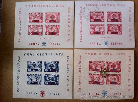 SEVILLA 4 BLOQUE DE FALANGE TRADICIONALISTA DE LAS JONS. UNO DE ELLOS EXCEPCIONALMENTE RARO (Sellos - España - Guerra Civil - De 1.936 a 1.939 - Nuevos)