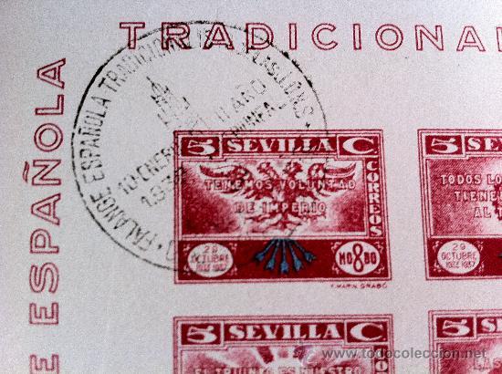 Sellos: Sevilla 4 bloque de Falange Tradicionalista de las JONS. Uno de ellos EXCEPCIONALMENTE RARO - Foto 2 - 28865757