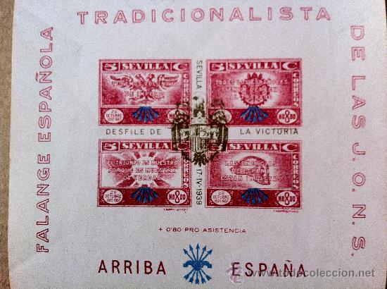 Sellos: Sevilla 4 bloque de Falange Tradicionalista de las JONS. Uno de ellos EXCEPCIONALMENTE RARO - Foto 3 - 28865757
