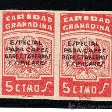 Sellos: ,,LOCAL NACIONALISTA GRANADA TIPO B380 PAREJA SIN DENTAR SIN GOMA, SOBRECARGA ESPECIAL CAFES, BARES,. Lote 28960306