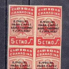 Sellos: ,,LOCAL NACIONALISTA GRANADA TIPO B380 EN B4 SIN DENTAR SIN GOMA, SOBRECARGA ESPECIAL CAFES, BARES, . Lote 28960321