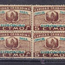 Sellos: ,,LOCAL NACIONALISTA GRANADA TIPO B380 EN B4 SIN GOMA, 5 CTS. SOBRECARGA ESPECIAL PARA ESPECTACULO. Lote 28960374
