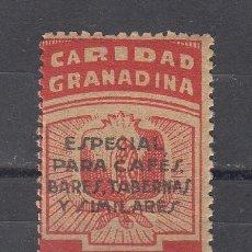 Sellos: ,,LOCAL NACIONALISTA GRANADA TIPO B380 SIN GOMA, SOBRECARGA EN GRIS ESPECIAL CAFES, BARES, TABERNAS,. Lote 28960735