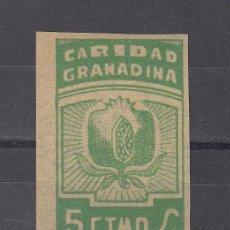 Sellos: ,,LOCAL NACIONALISTA GRANADA B380 SIN DENTAR SIN GOMA, 5 CTS. CARIDAD GRANADINA, . Lote 28960831