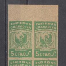 Sellos: ,,LOCAL NACIONALISTA GRANADA B380 EN B4 SIN DENTAR SIN GOMA, 5 CTS. CARIDAD GRANADINA, . Lote 28960849