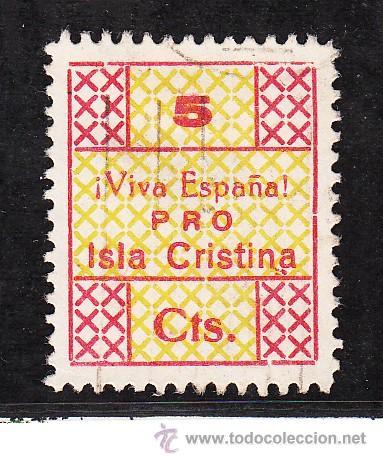 ,,LOCAL NACIONALISTA ISLA CRISTINA (HUELVA) 381 USADA, 5 CTS. (Sellos - España - Guerra Civil - Locales - Nuevos)