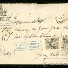 Sellos: CENSURA MILITAR DE SANTANDER.. Lote 28949596