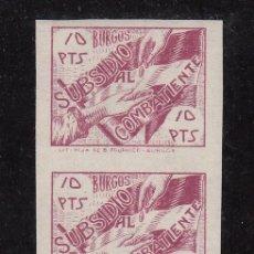 Sellos: ,,LOCAL NACIONALISTA BURGOS TIPO B111 10 PTS. PAREJA SIN DENTAR SIN CHARNELA, VARIEDAD -0- DE 10 +. Lote 29156380