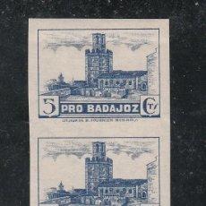 Sellos: ,,LOCAL NACIONALISTA BADAJOZ 121S PAREJA SIN DENTAR SIN CHARNELA, PRO BADAJOZ,. Lote 29156764