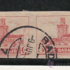 Sellos: ,,LOCAL NACIONALISTA BADAJOZ 118S PAREJA SIN DENTAR USADA CORREOS, PRO BADAJOZ,. Lote 29156943