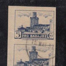 Sellos: ,,LOCAL NACIONALISTA BADAJOZ 117S PAREJA SIN DENTAR USADA CORREOS, PRO BADAJOZ,. Lote 29157115
