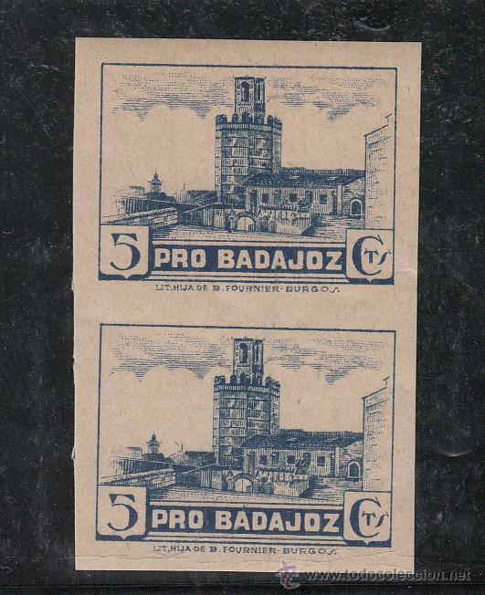,,LOCAL NACIONALISTA BADAJOZ 117AS PAREJA SIN DENTAR SIN CHARNELA, NO CATALOGADO SIN DENTAR PRO BADA (Sellos - España - Guerra Civil - Locales - Nuevos)