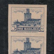 Sellos: ,,LOCAL NACIONALISTA BADAJOZ 117AS PAREJA SIN DENTAR SIN CHARNELA, NO CATALOGADO SIN DENTAR PRO BADA. Lote 29157156