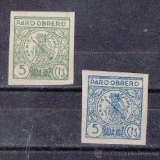 Sellos: ,,LOCAL NACIONALISTA BADAJOZ 105A/6A SIN DENTAR CON CHARNELA, PARO OBRERO, . Lote 29193036