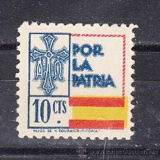 Sellos: ,,LOCAL NACIONALISTA ASTURIAS B30 SIN CHARNELA, 10 CTS. POR LA PATRIA, VDAD BANDERA DESPLAZADA,. Lote 257659560