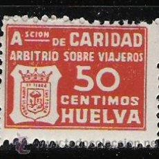 Sellos: 3196--SELLO NUEVO GUERRA CIVIL LOCAL FISCAL HUELVA ASOCIACION BENEFICA CARIDAD IMPUESTO VIAJEROS 50. Lote 29048437