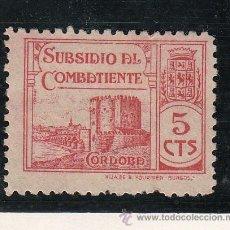 Sellos: ,,LOCAL NACIONALISTA CORDOBA SIN GOMA, 5 CTS. CASTILLO SUBSIDIO DEL COMBATIENTES . Lote 29073005