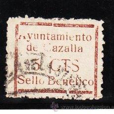 Sellos: ,,LOCAL NACIONALISTA CAZALLA (SEVILLA) 210 USADA, VARIEDAD ACENTO GRAVE, LETRAS ROTA -A-, -C-. Lote 29085585