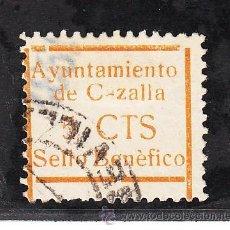 Sellos: ,,LOCAL NACIONALISTA CAZALLA (SEVILLA) 208 USADA, VDAD. ACENTO GRAVE EN BENEFICO, SIN -A- EN C ZALLA. Lote 29085675