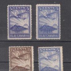 Sellos: ,,LOCAL NACIONALISTA CANARIAS 184/6, 184A CON CHARNELA, AVION EN VUELO, . Lote 29111072