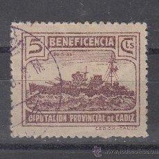 Sellos: ,,LOCAL NACIONALISTA CADIZ TIPO BALEARES 5 CTS. CASTAÑO PAPEL FINO USADA, SIN CATALOGAR, . Lote 29114948