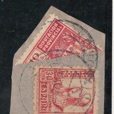 Sellos: ,,LOCAL NACIONALISTA CADIZ B134 BISECTADO FRAG. CON 823 USADA CORREOS, 10 CTS. DIPUTACION PROVINCIAL. Lote 29115136