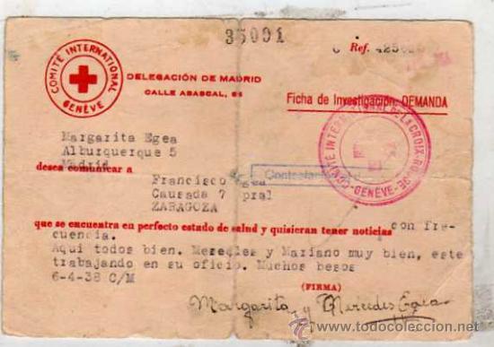 COMITE INTERNACIONAL GUERRA CIVIL. CRUZ ROJA. FICHA DE INVESTIGACION DEMANDA. CONTESTACION 1938. (Sellos - España - Guerra Civil - De 1.936 a 1.939 - Cartas)