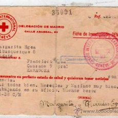 Sellos: COMITE INTERNACIONAL GUERRA CIVIL. CRUZ ROJA. FICHA DE INVESTIGACION DEMANDA. CONTESTACION 1938.. Lote 29146998