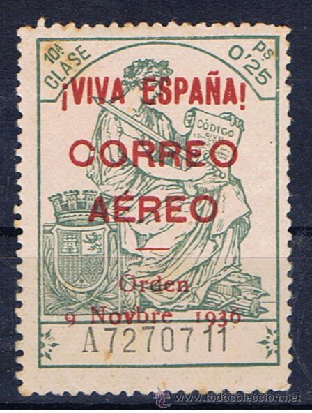 BURGOS FISCALES 1936 SOBRECARGA VIVA ESPAÑA AEREO EDIFIL 19 NUEVO** VALOR 2011 CATALOGO 48 EUROS (Sellos - España - Guerra Civil - Locales - Nuevos)