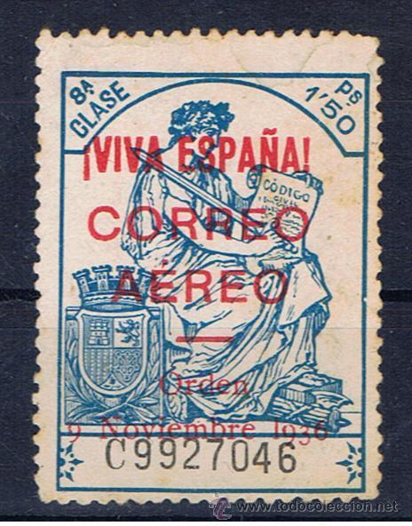 BURGOS FISCALES 1936 SOBRECARGA VIVA ESPAÑA AEREO EDIFIL 21 NUEVO(*) VALOR 2011 CATALOGO 6.50 EUROS (Sellos - España - Guerra Civil - Locales - Nuevos)