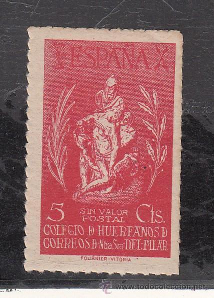 ,,BENEFICENCIA HUERFANOS CORREOS NTRA. SRA. DEL PILAR 84 SIN CHARNELA, CAT. GALVEZ (Sellos - España - Guerra Civil - Beneficencia)