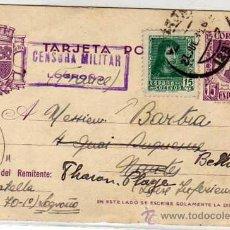 Sellos: ENTERO POSTAL. CENSURA MILITAR LOGROÑO. SELLO ADICIONAL. 25 JULIO 1938. GUERRA CIVIL. CIRCULADO.. Lote 29289868