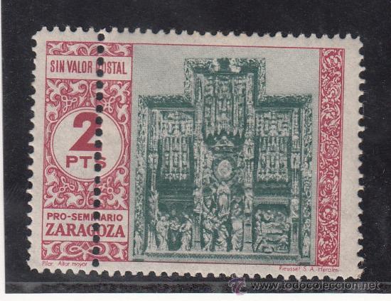 ,,BENEFICENCIA VIÑETOFILIA PRO SEMINARIO ZARAGOZA 5 SIN CHARNELA VARIEDAD DOBLE PERFORACION VERTICAL (Sellos - España - Guerra Civil - Beneficencia)