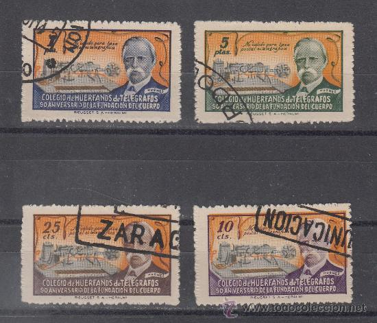,,BENEFICENCIA HUERFANOS TELEGRAFOS 52E/5E USADA, VARIACIONES DE COLOR, CATALOGO GALVEZ (Sellos - España - Guerra Civil - Beneficencia)
