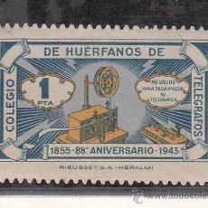 Sellos: ,,BENEFICENCIA HUERFANOS TELEGRAFOS 46 CON CHARNELA, CATALOGO GALVEZ . Lote 29579943