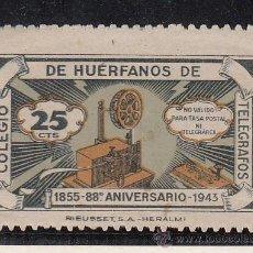 Sellos: ,,BENEFICENCIA HUERFANOS TELEGRAFOS 45 CON CHARNELA, CATALOGO GALVEZ . Lote 29579947