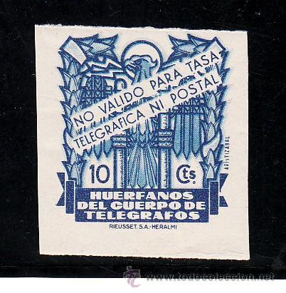 ,,BENEFICENCIA HUERFANOS TELEGRAFOS 31 SIN DENTAR SIN CHARNELA, CATALOGO GALVEZ (Sellos - España - Guerra Civil - Beneficencia)
