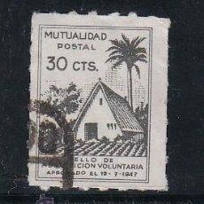 Sellos: ,,BENEFICENCIA MUTUALIDAD POSTAL 30 CTS. -BARRACA- TAMAÑO REDUCIDO USADA, CATALOGO GALVEZ. Lote 122260262