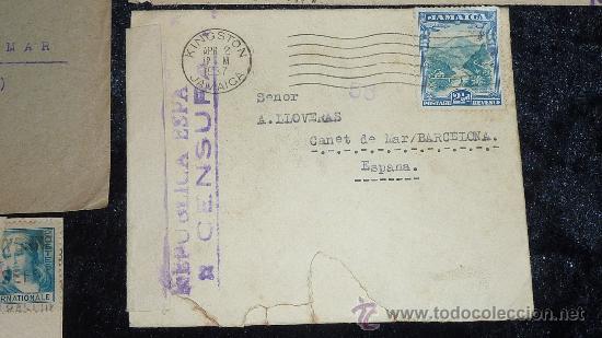 Sellos: Lote 21 sobres de paises extranjeros a españa durante la guerra civil. censuras, por avion, raros! - Foto 2 - 29354046