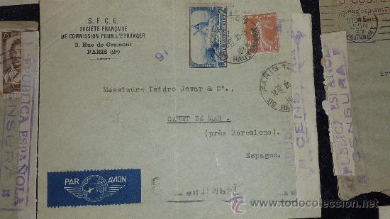 Sellos: Lote 21 sobres de paises extranjeros a españa durante la guerra civil. censuras, por avion, raros! - Foto 29 - 29354046