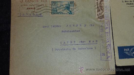 Sellos: Lote 21 sobres de paises extranjeros a españa durante la guerra civil. censuras, por avion, raros! - Foto 31 - 29354046