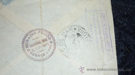Sellos: Sobre con tampones del comite de milicias antifascistas barcelona. 25 julio 1936. guerra civil - Foto 4 - 29353923