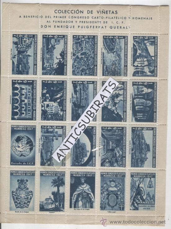 VIÑETAS.AÑO 1947. GUERRA DE LA INDEPENDENCIA.1808.NAPOLEON.BANDERAS DEL BRUCH.MANRESA. SANTPEDOR (Sellos - España - Guerra Civil - Viñetas - Nuevos)