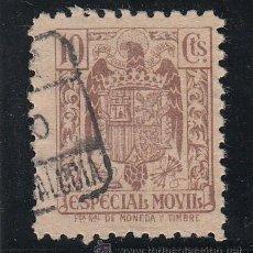 Sellos: ,,FISCAL ESPECIAL MOVIL 10 CTS. CASTAÑO USADA CORREOS. Lote 45133397