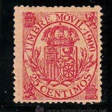 Sellos: ,,FISCAL 108 TIMBRE MOVIL 1900 CATALOGO GALVEZ 1960 CON CHARNELA 25 CTS. ROSA. Lote 30310266