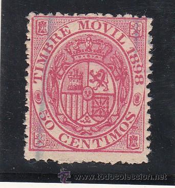 ,,FISCAL 99 TIMBRE MOVIL 1898 CATALOGO GALVEZ 1960 USADA 50 CTS. ROSA (Sellos - España - Guerra Civil - Locales - Nuevos)