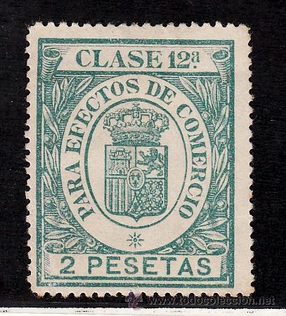 ,,FISCAL PARA EFECTOS DE COMERCIO CLASE 12ª 2 PTAS. VERDE AZUL USADA, CATALOGO GALVEZ 1923 Nº 599, (Sellos - España - Guerra Civil - Locales - Nuevos)