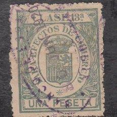 Sellos: ,,FISCAL PARA EFECTOS DE COMERCIO CLASE 13ª 1 PTA. VERDE AZUL USADA, CATALOGO GALVEZ 1923 Nº 598. Lote 30169079
